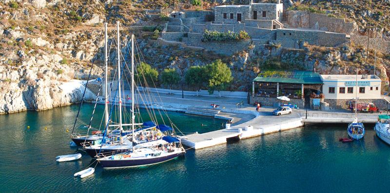 sailing boats docked in Vathi, Kalymnos ,Greece