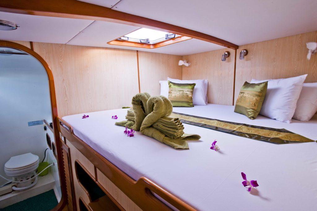 forward cabin on Mahayana - cruising charter catamaran in Phuket