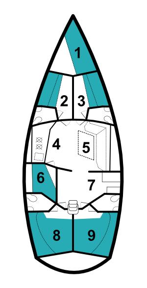 Layout of yacht Artemis, a Dromor Venus 16