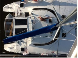 Birds eye view of catamaran
