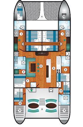 sailing catamaran Cataleya layout